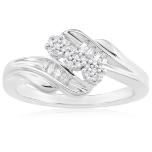 Silver and Diamond Ring with Brilliant and Baguette Shape Diamonds