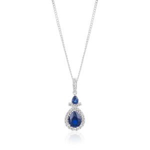 Sterling Silver Rhodium Plated Created Sapphire and Zirconia Pendant