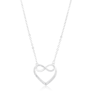 Sterling Silver Infinity Heart Cubic Ziconia Pendant with Chain