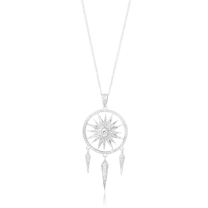 Sterling Silver Rhodium Plated Fancy Zirconia Dreamcatcher Spinning Pendant