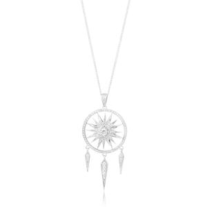 Sterling Silver Rhodium Plated Fancy Zirconia Dreamcatcher Spinning Pendant
