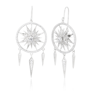 Sterling Silver Rhodium Plated Zirconia Dreamcatcher Drop Earrings