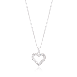 Sterling Silver Zirconia Open Heart Stud Earrings and Pendant on Chain Set