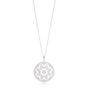 Sterling Silver Rhodium Plated Zirconia Round Flower Pattern Pendant