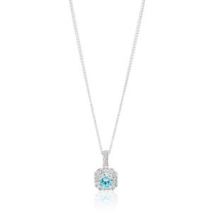 Sterling Silver Rhodium Plated Light Blue Zirconia Round Cut Halo Pendant