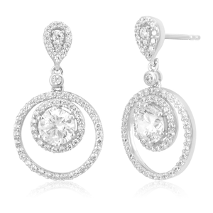 Sterling Silver Rhodium Plated Zirconia Double Ring Pave Drop Earrings