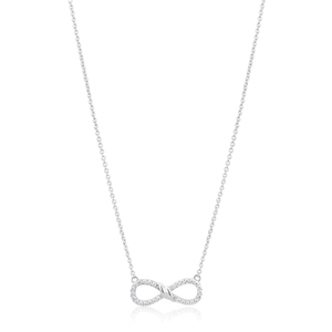 Sterling Silver Rhodium Plated Zirconia Infinity Pendant on 45cm Chain