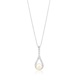 Sterling Silver Rhodium Plated Freshwater Pearl and Zirconia Teardrop Pendant