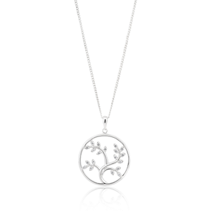 Sterling Silver Rhodium Plated 24mm Round Tree of Life Zirconia Pendant