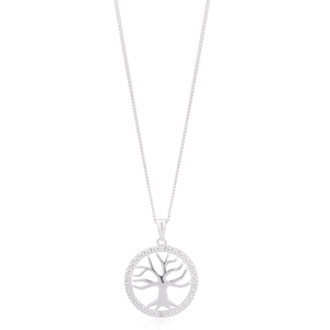 Sterling Silver Tree of Life Pendant with Diamonds