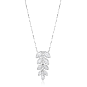 Sterling Silver Rhodium Plated Fancy Cubic Zirconia Leaf Pendant with 40+5cm Chain