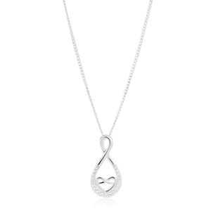 Sterling Silver Rhodium Plated Cubic Zirconia Heart & Infinity Pendant