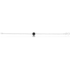 Sterling Silver Simulated Black Pearl Popcorn link Bracelet 19cm