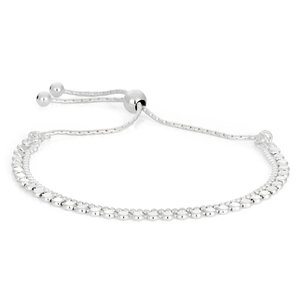 Sterling Silver Fancy Multi Strand Beaded Adjustable Bracelet