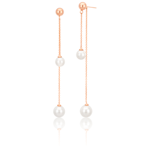 Sterling Silver Rose Gold Plated Simulated Pearl Chain Drop Earrings