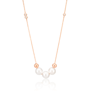Simulated Pearl and Zirconia with Sterling Silver+Rose Gold Plate Chain
