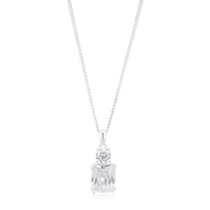 Sterling Silver Cushion and Round Cut Pendant