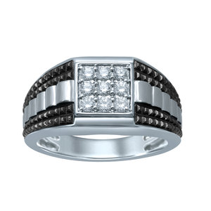 Sterling Silver Gents Ring with 1/2 Carat of White Diamonds