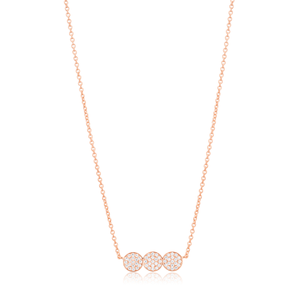 Sterling Silver Rose Gold Plated Cubic Zirconia Pave Trio Disc Pendant Chain 38+5cm