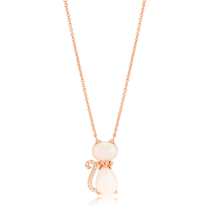 Sterling Silver Rose Gold Plate Created Opal & Zirconia Cat Pendant with 42+3cm Chain