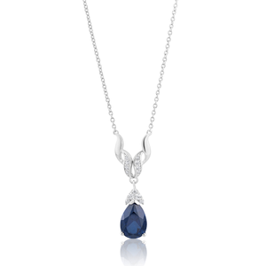 Sterling Silver Rhodium Plated Created Sapphire & Zirconia Necklet 42+3cm