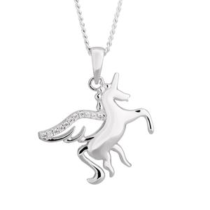 Sterling Silver Zirconia Unicorn Pendant
