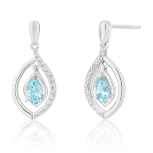 Sterling Silver Blue and White Zirconia Drop Earrings