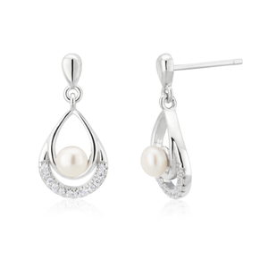 Sterling Silver Freshwater Pearl and Zirconia Drop Earrings