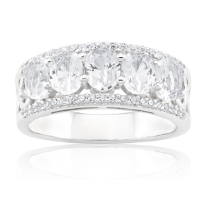 Sterling Silver Created White Sapphire and Zirconia Ring