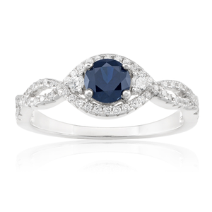 Sterling Silver Created Sapphire and Zirconia Ring