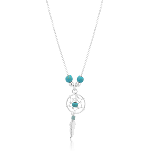 Sterling Silver and Created Turquoise Dreamcatcher Pendant