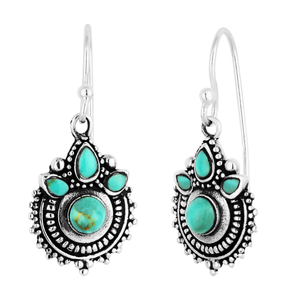 Sterling Silver Turquoise Oxidised Drop Earrings