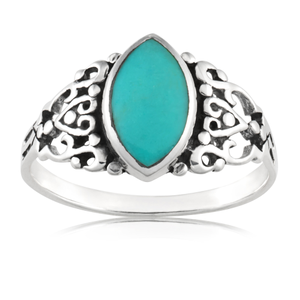 Sterling Silver Created Turquoise Marquise Oxidised Ring