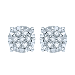 Silver Studs with 14 Diamonds