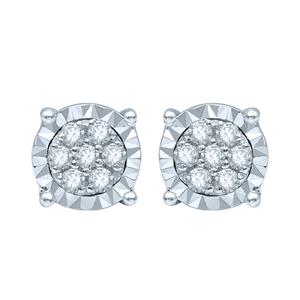 Silver Studs with 14 Diamonds