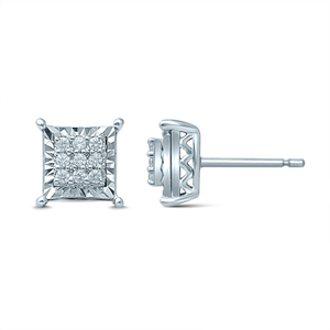 Silver Studs with 18 Diamonds