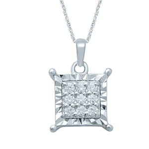 Silver Pendant with 9 Diamonds including Chain