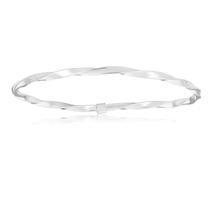 Sterling Silver Round Fancy Twist Bangle
