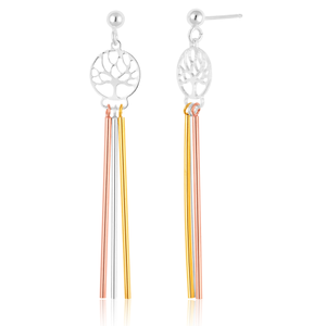 Sterling Silver with Gold and Rose Gold Plate Tree of Life Three Tone Drop Earrings