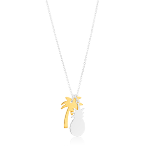 Sterling Silver and Gold Plate 41cm Pineapple and Palm Tree Pendant