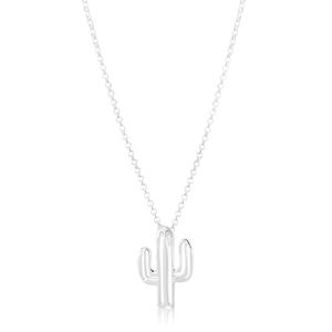 45cm Sterling Silver Cactus Pendant