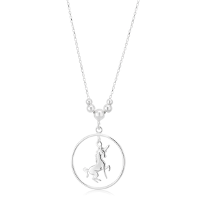 Sterling Silver 40cm Unicorn in Circle Pendant