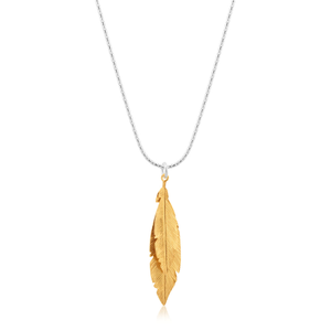 Sterling Silver 42cm Multi Feather Drop Pendant