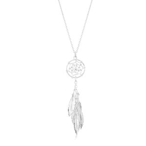 41cm Sterling Silver Multi Feather Dreamcatcher Drop Pendant