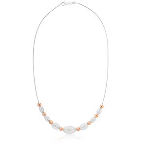 Sterling Silver with Rose Gold Plate 41cm Fancy Necklet on Cable Chain