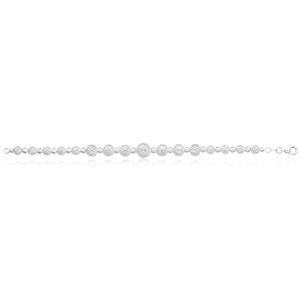 Sterling Silver 19cm Fancy Dicut Graduated Ball Bracelet