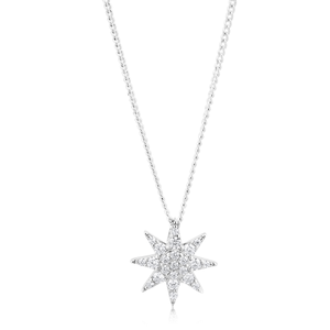 Sterling Silver Zirconia 8 Bar Star Pendant