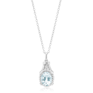 Sterling Silver Aquamarine Oval Pendant with 44cm Chain