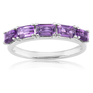 Sterling Silver Amethyst Multi Stone Octagon Cut Ring