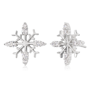 Sterling Silver Zirconia Snowflake Stud Earrings
